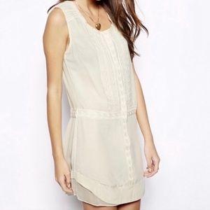 Aryn K Embellished Silk Shirt Dress Beige Medium